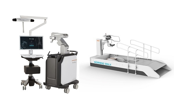 "CUREXO's robot for spinal surgery ""CUVIS-spine (left)"" and for walking rehabilitation ""Morning Walk (right)"""